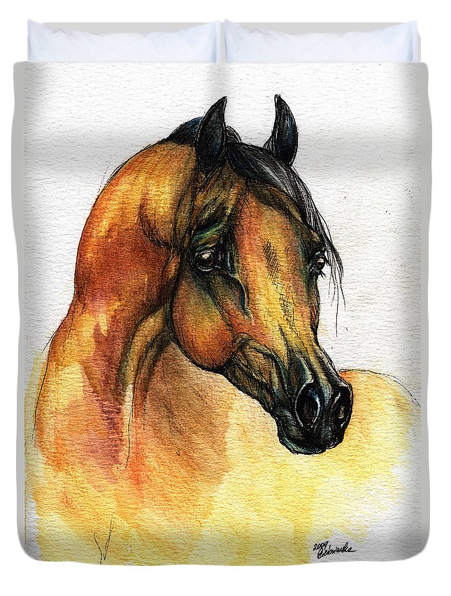 Watercolor Duvet Cover featuring the painting The Bay Arabian Horse 14 by Angel Ciesniarska