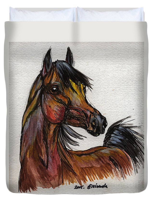Horse Duvet Cover featuring the painting The Bay Horse 1 by Angel Ciesniarska