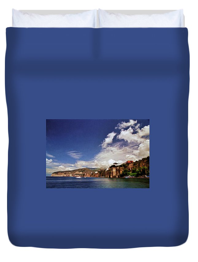 Bay Of Sorrento Duvet Cover featuring the photograph The Bay Of Sorrento by Allen Beatty