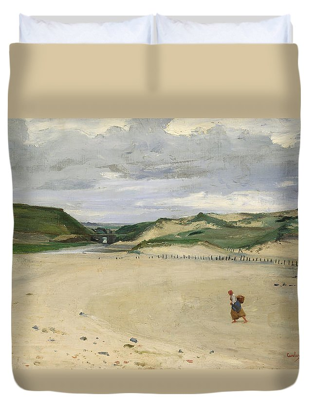 Dunes Duvet Cover featuring the photograph The Beach At Ambleteuse, 1869 Oil On Canvas by Charles Emile Auguste Carolus-Duran