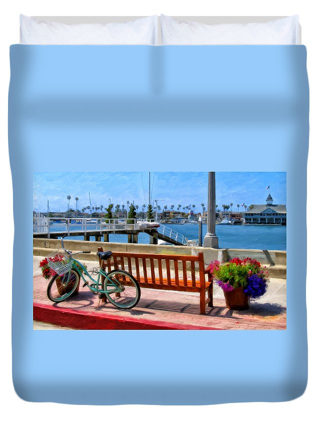 Newport Beach Duvet Cover featuring the painting The Beach Cruiser by Michael Pickett