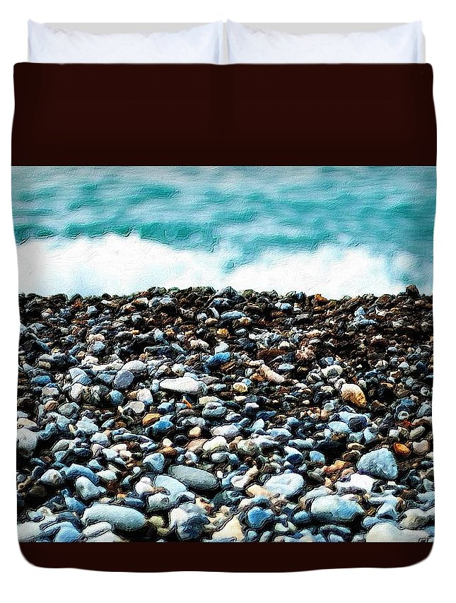Rocks Duvet Cover featuring the painting The Beach Of Rocks by Florian Rodarte