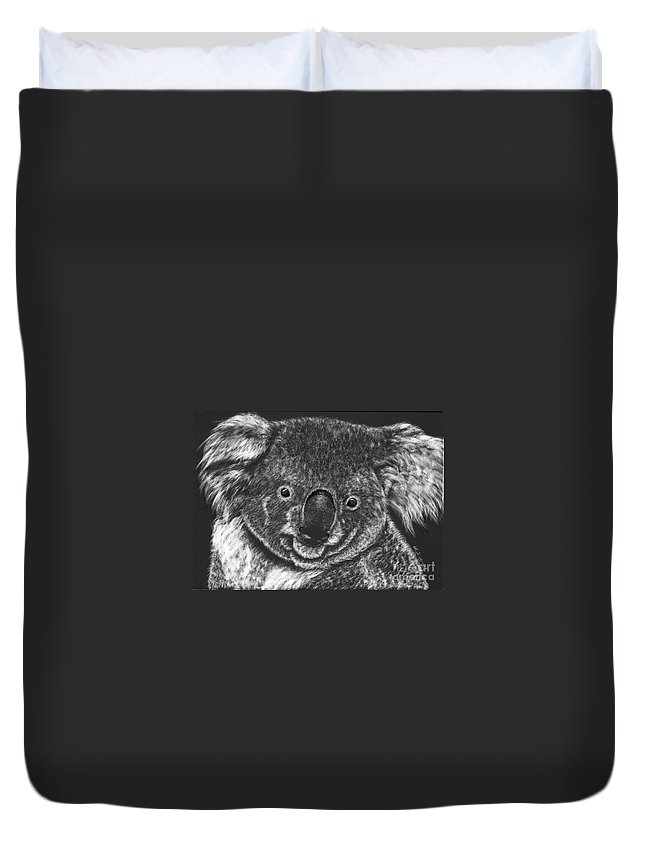 Koala Bear Duvet Cover featuring the drawing The Bear From Down Under by Lora Duguay