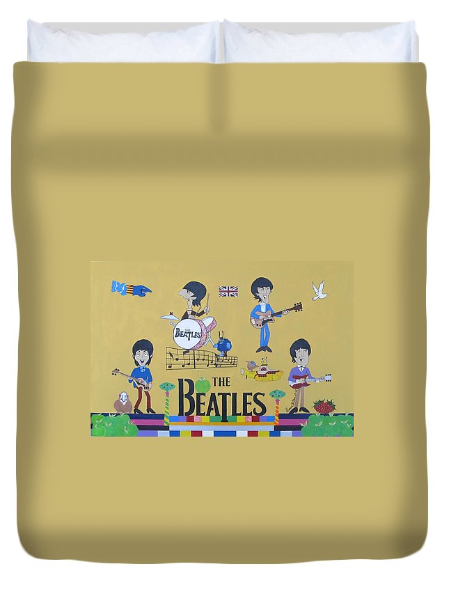The Beatles Duvet Cover featuring the painting The Beatles Yellow Submarine Concert by Donna Wilson