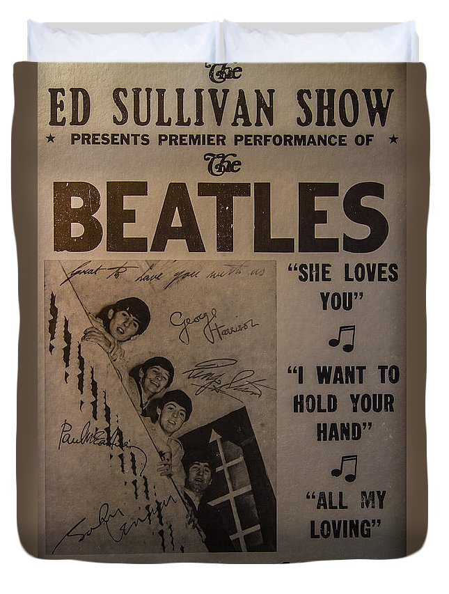 The Beatles Ed Sullivan Show Poster Duvet Cover featuring the photograph The Beatles Ed Sullivan Show Poster by Mitch Shindelbower