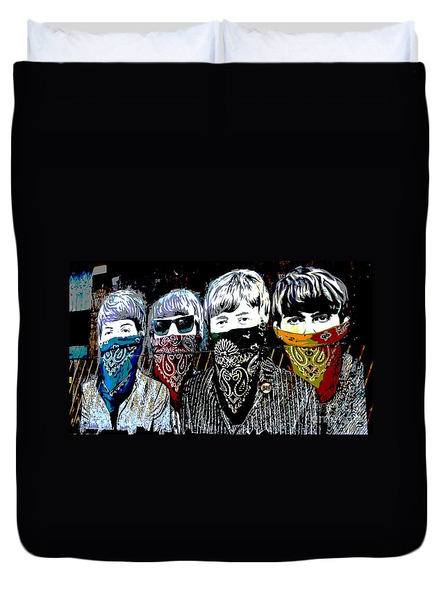 Banksy Duvet Cover featuring the photograph The Beatles wearing face masks by RicardMN Photography