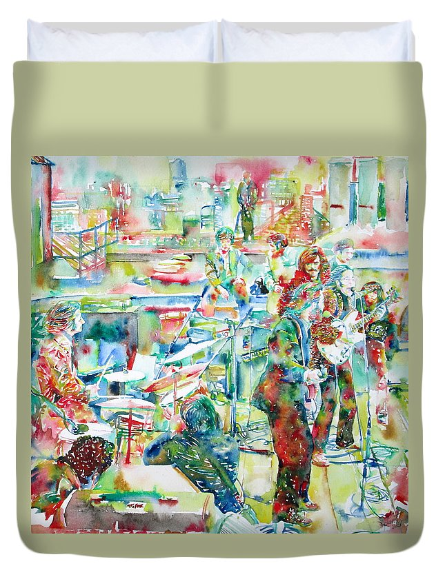 Beatles Duvet Cover featuring the painting THE BEATLES ROOFTOP CONCERT - watercolor painting by Fabrizio Cassetta