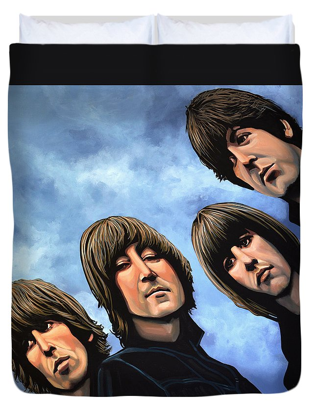 The Beatles Duvet Cover featuring the painting The Beatles Rubber Soul by Paul Meijering