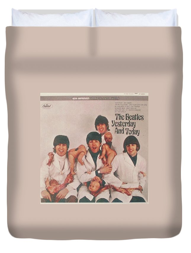 The Beatles Duvet Cover featuring the photograph The Beatles Yesterday and Today Butcher Album Cover by Donna Wilson
