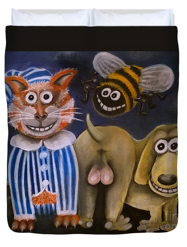 Idiom Duvet Cover featuring the pastel The Bees Knees The Cats Pyjamas And The Dogs Bollocks by Caroline Peacock