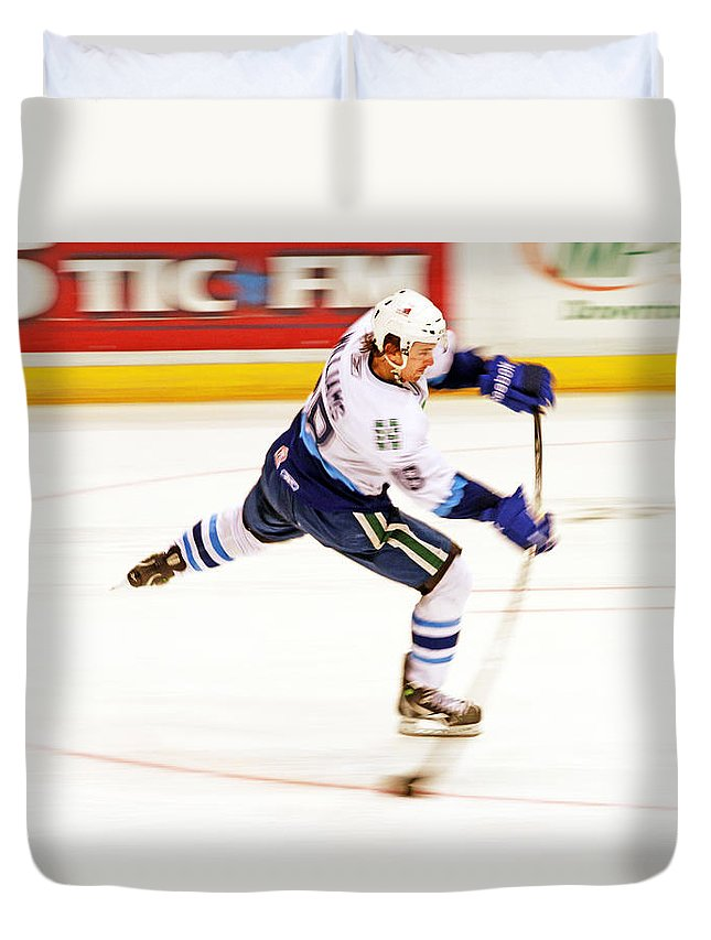 Hockey Duvet Cover featuring the photograph The Bend by Karol Livote