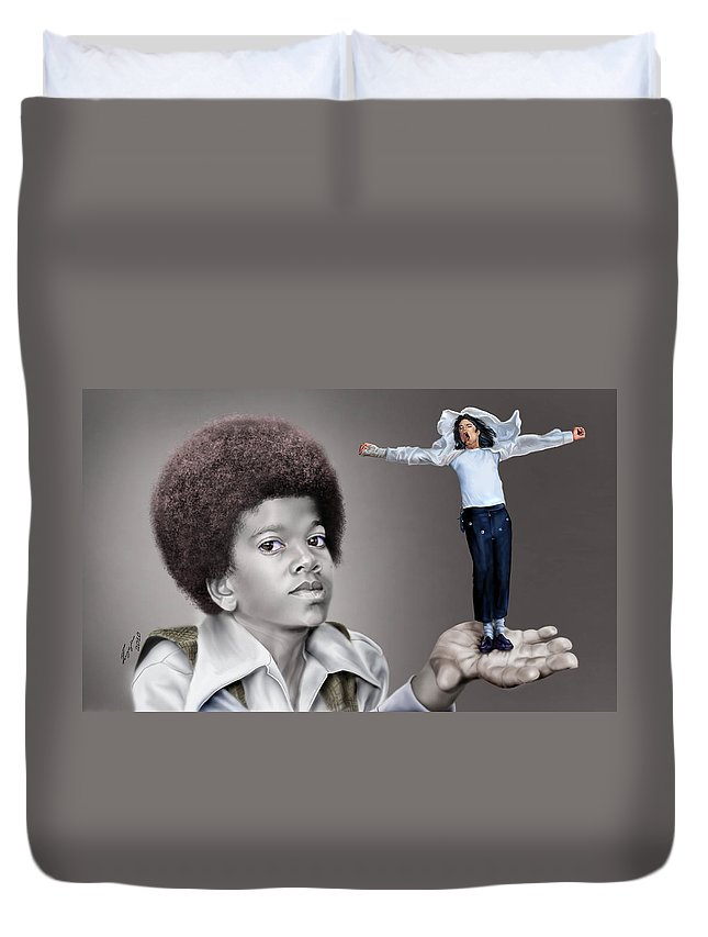 Young Michael Jackson Duvet Cover featuring the painting The Best of Me - Handle With Care - Michael Jacksons by Reggie Duffie