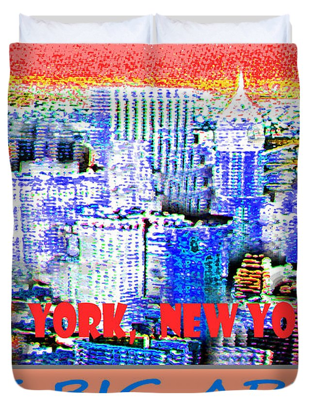 New York Duvet Cover featuring the digital art The Big Apple by Michael Moore