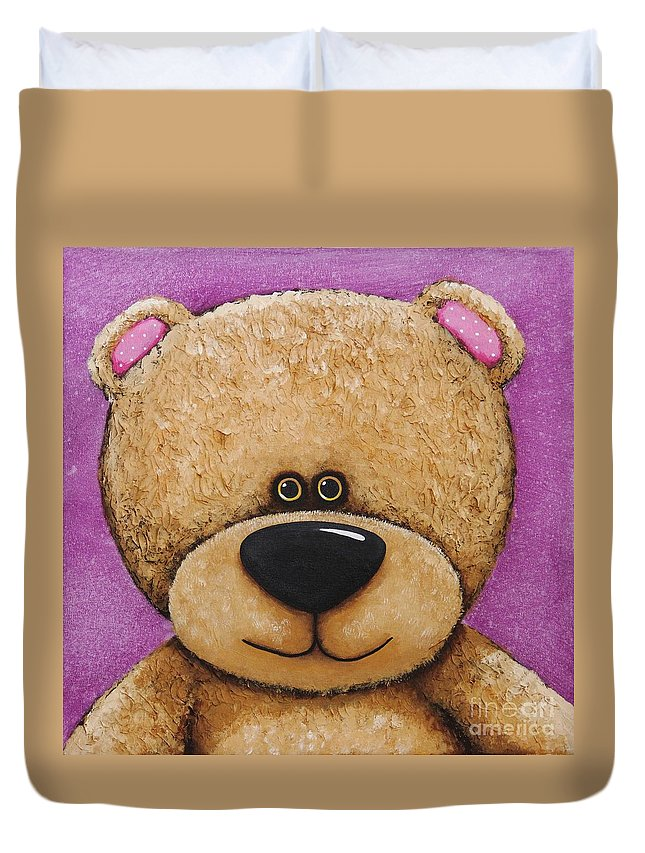 Teddy Bear Whimsical Bear Fun Art Children Kids Painting Acrylic Purple Duvet Cover featuring the painting The Big Bear by Lucia Stewart