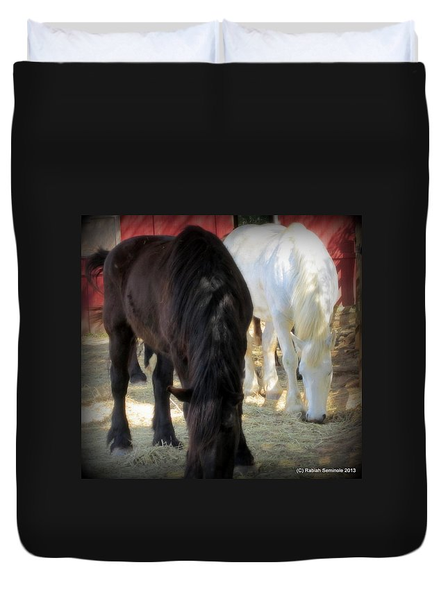 Horses Duvet Cover featuring the photograph The Big Girls by Rabiah Seminole