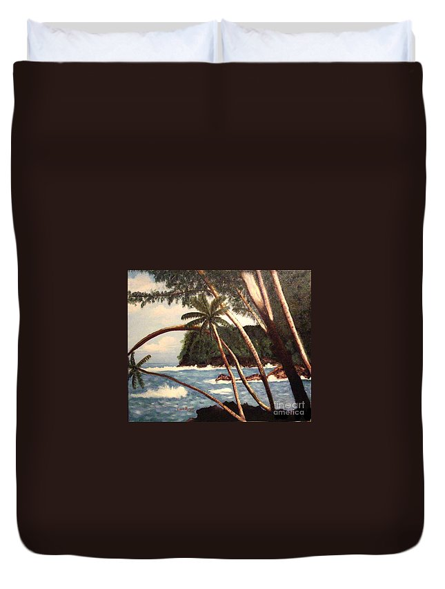 Hawaii Duvet Cover featuring the painting The Big Island by Laurie Morgan