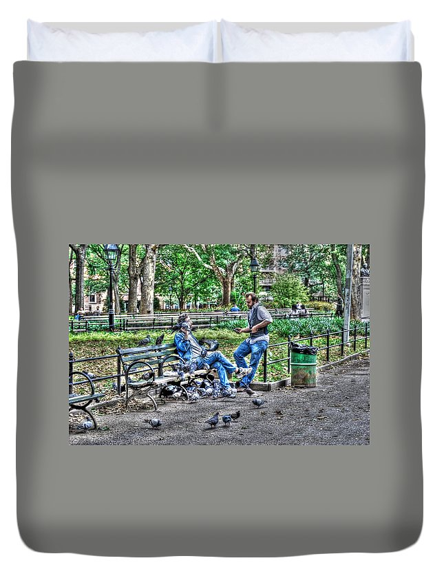 Washington Square Park Duvet Cover featuring the photograph The Bird Whisperer by Randy Aveille
