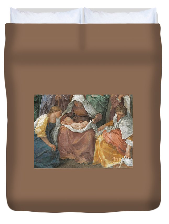 Christian Duvet Cover featuring the painting The Birth Of The Virgin by Guido Reni