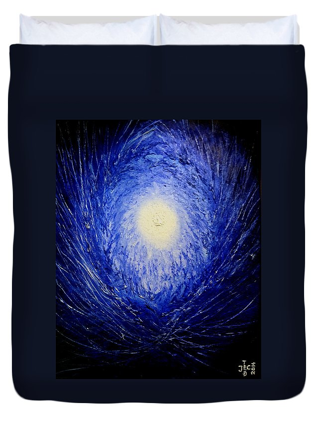 The Birth Of Universe By Ted Jec Duvet Cover featuring the painting The Birth Of Universe by Ted Jec