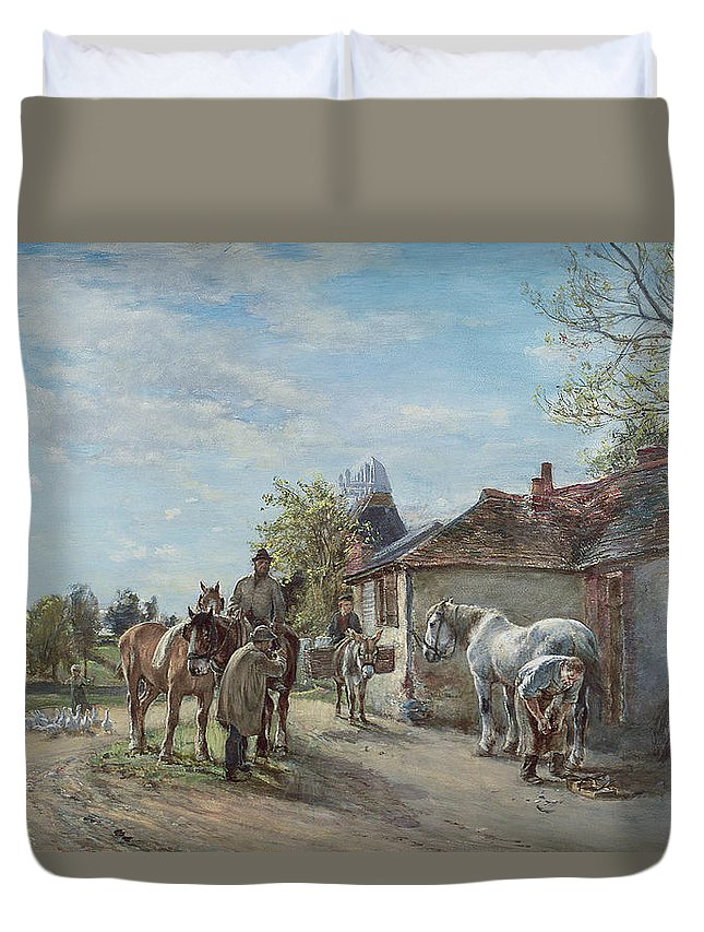 Rural Duvet Cover featuring the painting The Blacksmith by Mark Fisher