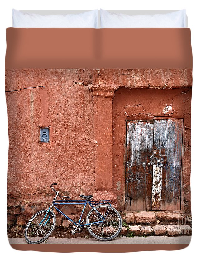 Bicycle Duvet Cover featuring the photograph The Blue Bicycle by James Brunker