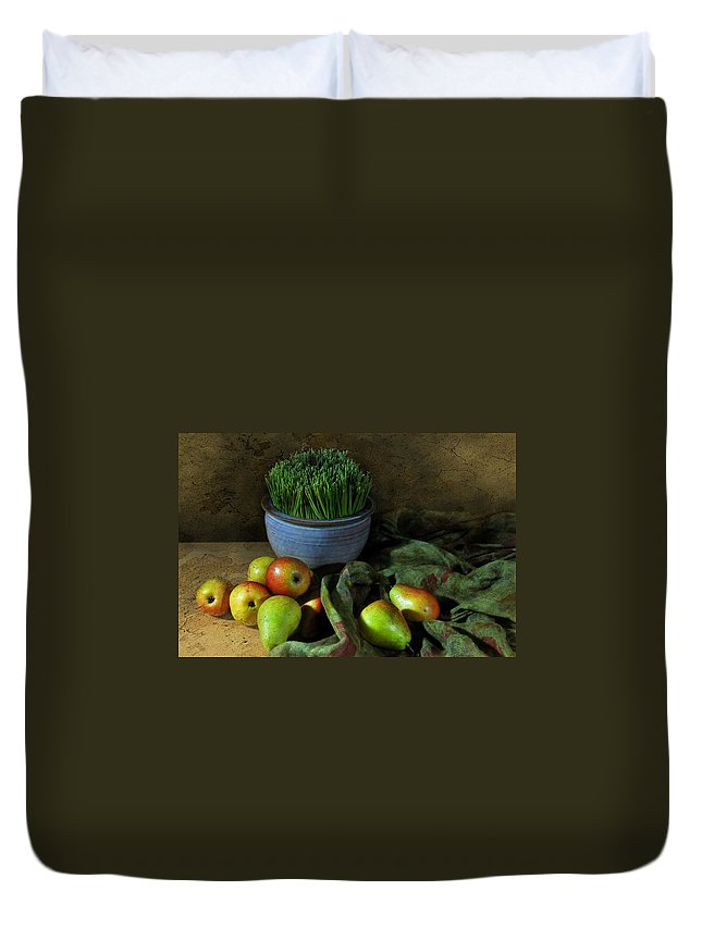 Still Life Duvet Cover featuring the photograph The Blue Clay Pot by Diana Angstadt