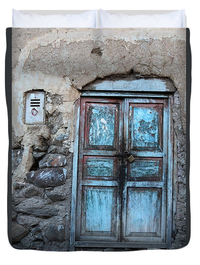 Doors Duvet Cover featuring the photograph The Blue Door 1 by James Brunker