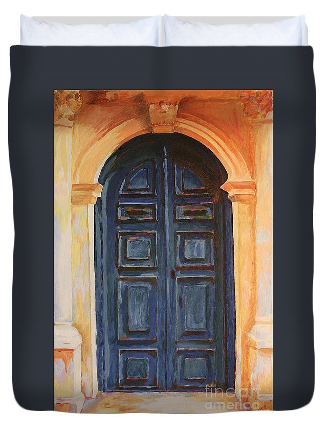 Blue Door Duvet Cover featuring the painting The Blue Door Venice by Christine Dekkers