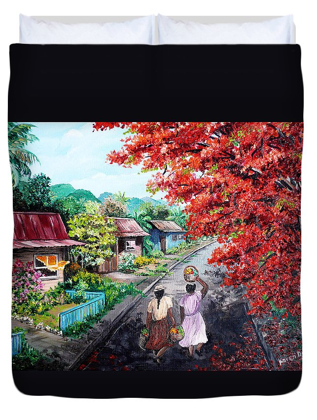 Caribbean House Painting Duvet Cover featuring the painting The Blue Fence    Sold by Karin Dawn Kelshall- Best
