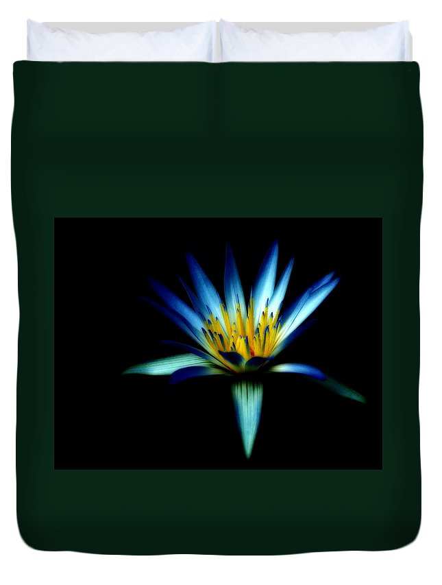 Blue Duvet Cover featuring the photograph The Blue Lotus Of Egypt by Wayne Sherriff