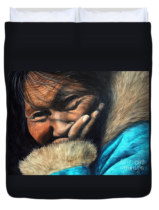 Inuit Duvet Cover featuring the painting The Blue Parka by Joey Nash
