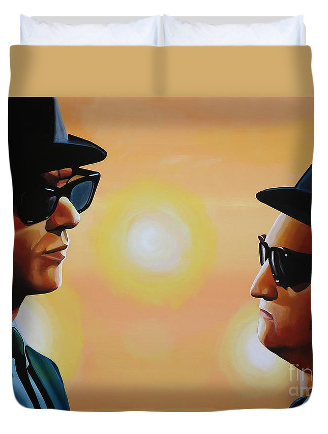 The Blues Brothers Duvet Cover featuring the painting The Blues Brothers by Paul Meijering