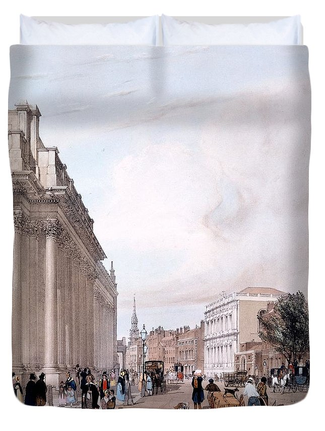 Board Of Trade Duvet Cover featuring the drawing The Board Of Trade, Whitehall by Thomas Shotter Boys