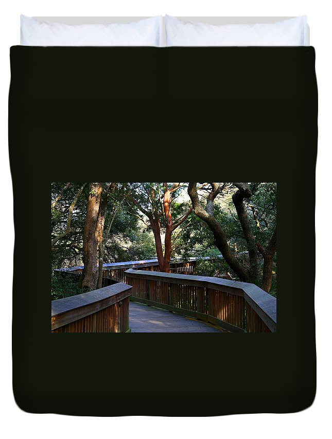 Boardwalk Duvet Cover featuring the photograph The Boardwalk by Kathryn Meyer