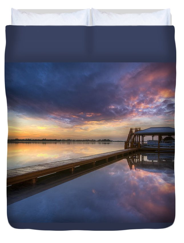 Boats Duvet Cover featuring the photograph The Boathouse by Debra and Dave Vanderlaan