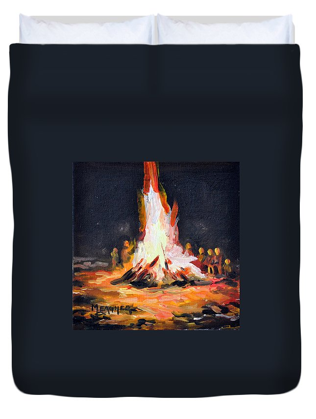 Camping Duvet Cover featuring the painting The Bonfire by Spencer Meagher