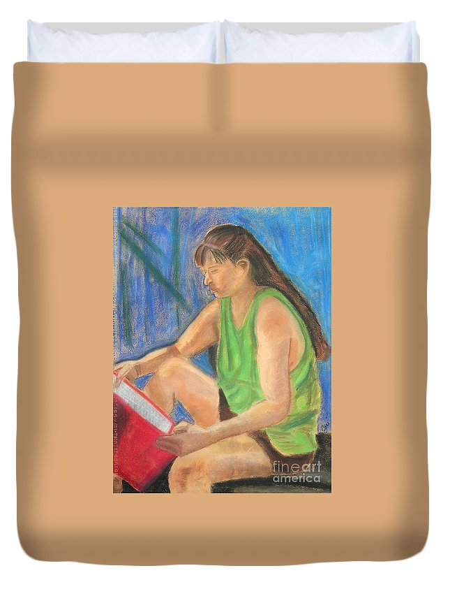 Girl Duvet Cover featuring the pastel The Book Worm by Cori Solomon