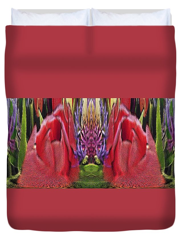 Abstract Duvet Cover featuring the digital art The Bouquet Unleashed 42 by Tim Allen