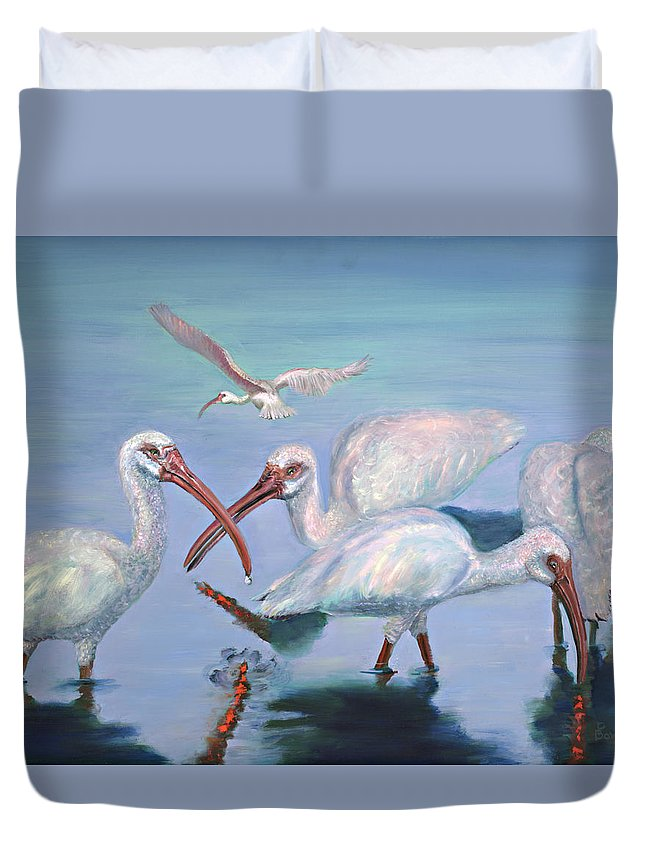 Water Fowl Duvet Cover featuring the painting The Boyz by Peter Bonk