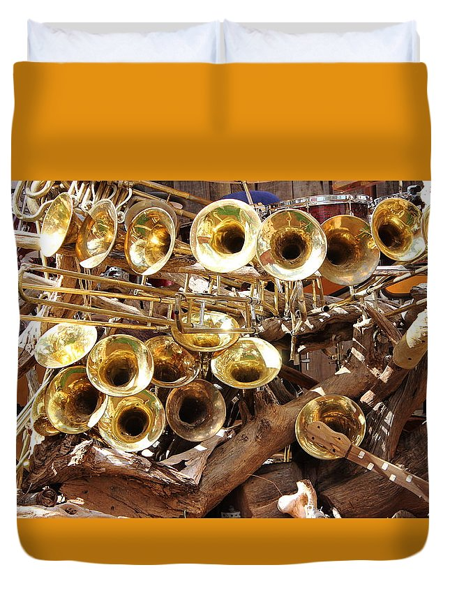 Brass Duvet Cover featuring the photograph The Brass Section by Natalie Ortiz