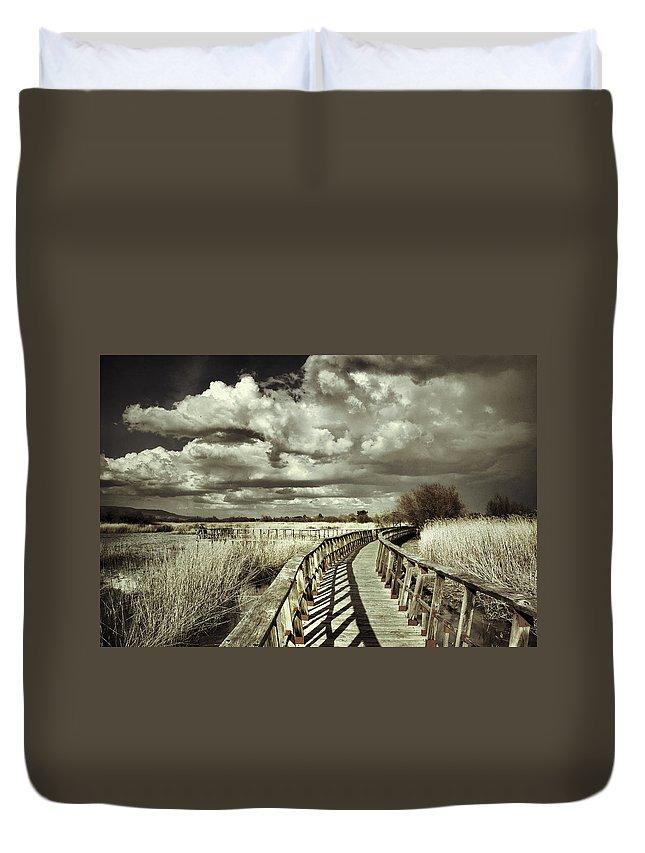 Sunrise Duvet Cover featuring the photograph The Bridge Retro Serie by Guido Montanes Castillo