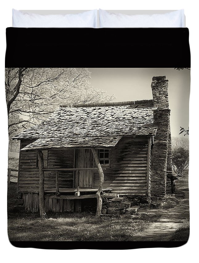 Appalachian Mountains Duvet Cover featuring the digital art The Brinegar Cabin by Phill Doherty