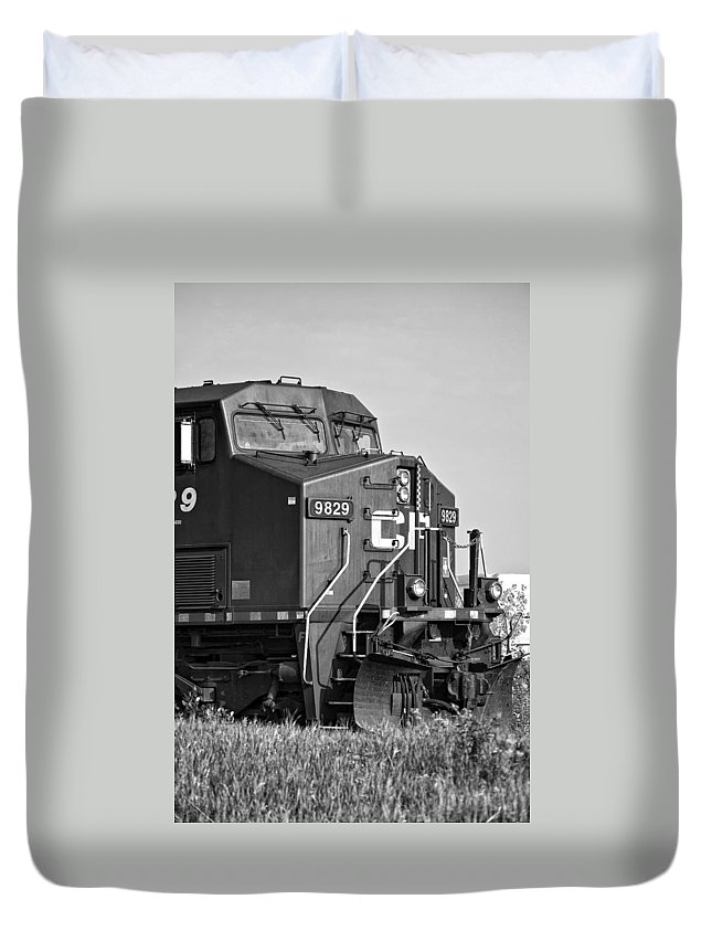 Engine Duvet Cover featuring the photograph The Brute Monochrome by Steve Harrington