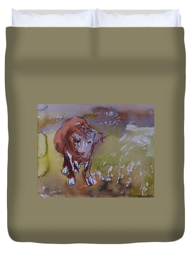 Bull Duvet Cover featuring the photograph The Bullock, 1983 Pen & Ink With Wc On Paper by Brenda Brin Booker