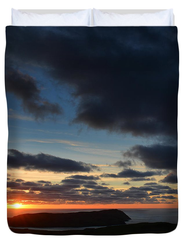 Photography By Paul Davenport Duvet Cover featuring the photograph The Calf From A Hilltop In Twilight I by Paul Davenport