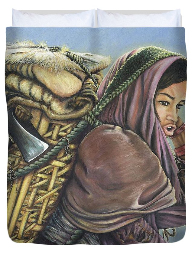 Nepal Duvet Cover featuring the painting The Call Of The Shepherd  by Belle Perez-de-Tagle