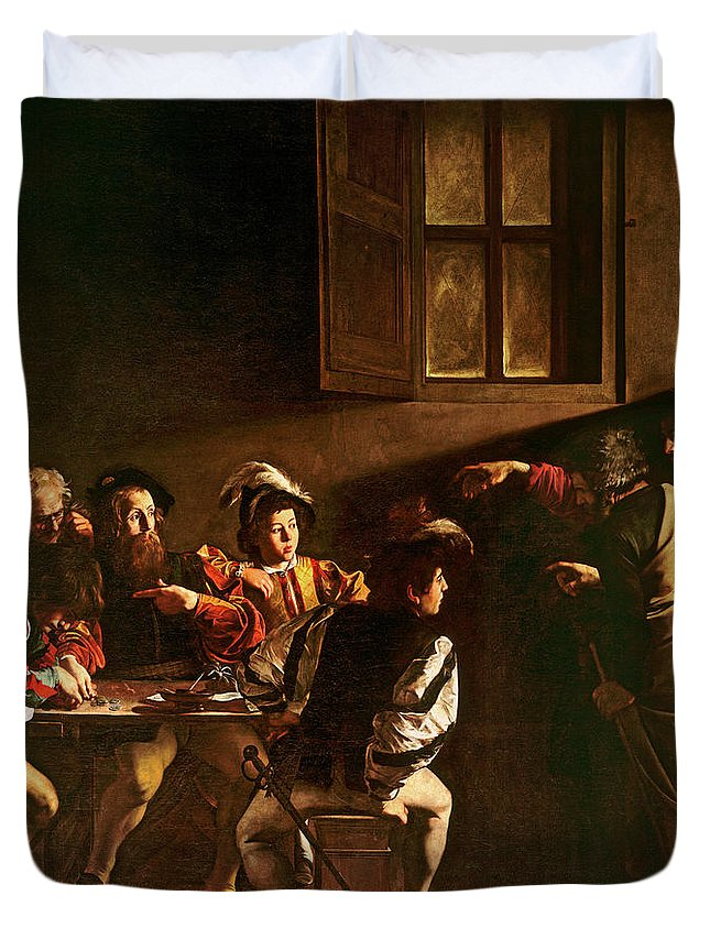 Chiaroscuro Duvet Cover featuring the painting The Calling Of St Matthew by Michelangelo Merisi o Amerighi da Caravaggio