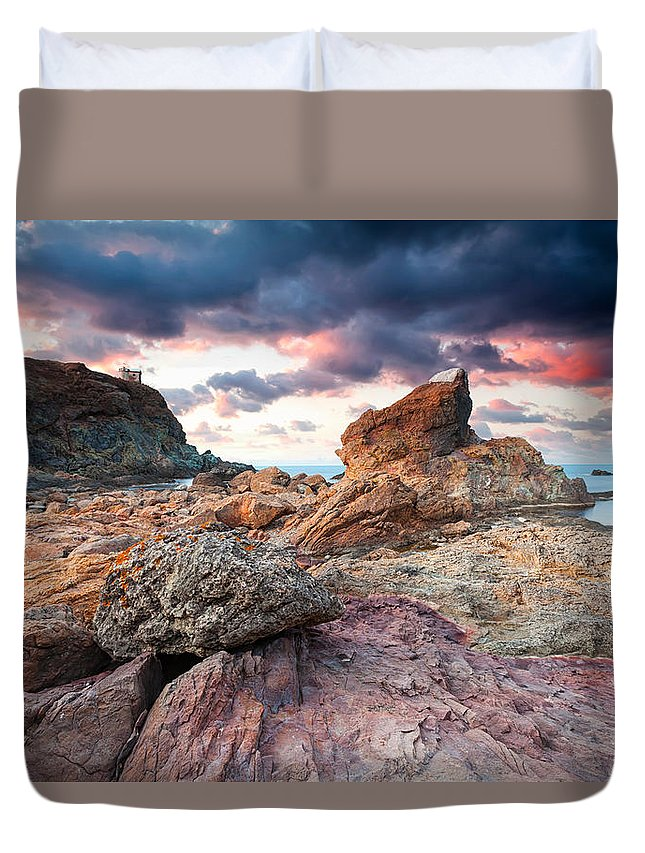 Black Sea Duvet Cover featuring the photograph The Cape by Evgeni Dinev
