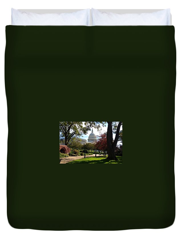 The Capitol Duvet Cover featuring the photograph The Capitol Building by Lois Ivancin Tavaf