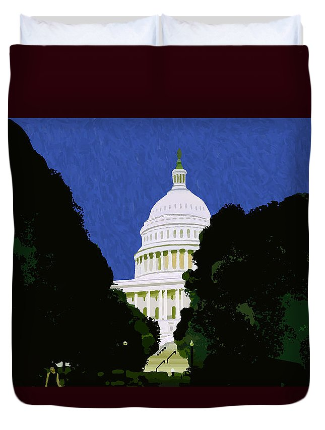 Capitol Duvet Cover featuring the painting The Capitol by Pharris Art